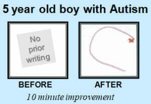 Before and after letter c by 5 year old with Autism learning to write with The TV Teacher alphabet beats