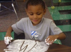 pre writing with shaving cream practicing letters with The TV Teacher